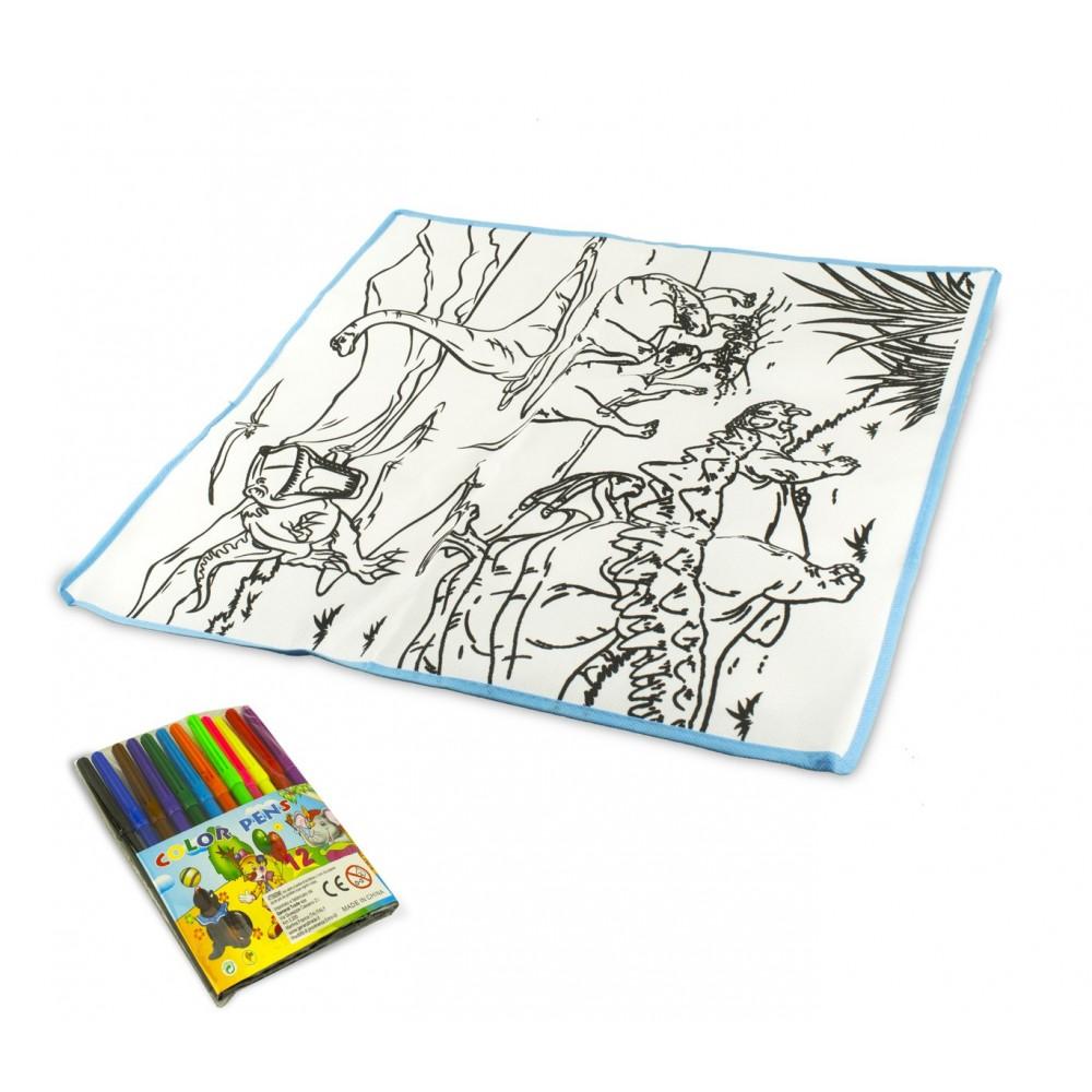 Tappeto gioca e colora 121769 DINOSAURI lavabile 50 x 50 cm pennarelli inclusi