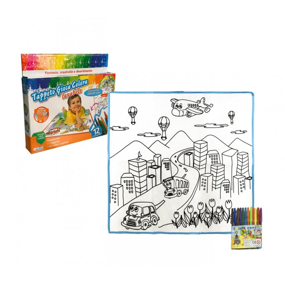 Tappeto gioca e colora 121768 CITTA lavabile 50 x 50 cm pennarelli inclusi