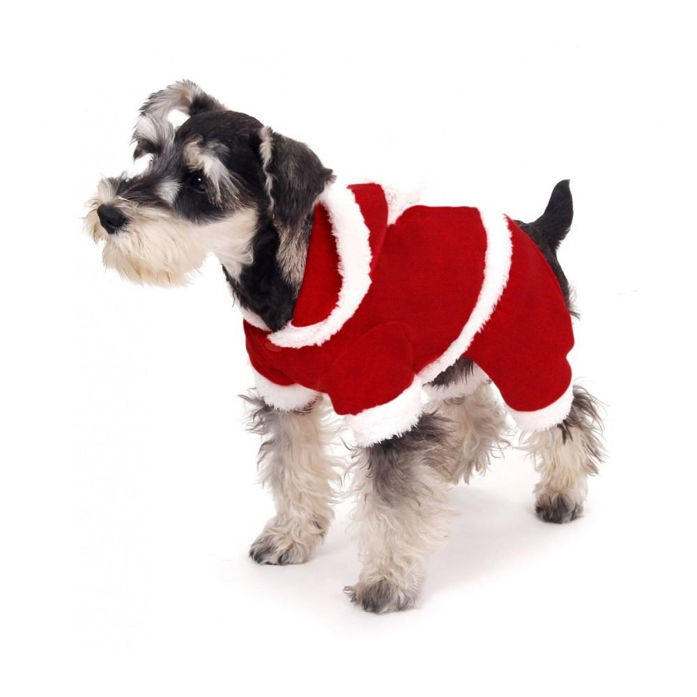 Vestito da BABBO NATALE 107443 con cappuccio per cani piccola taglia 3 bottoni