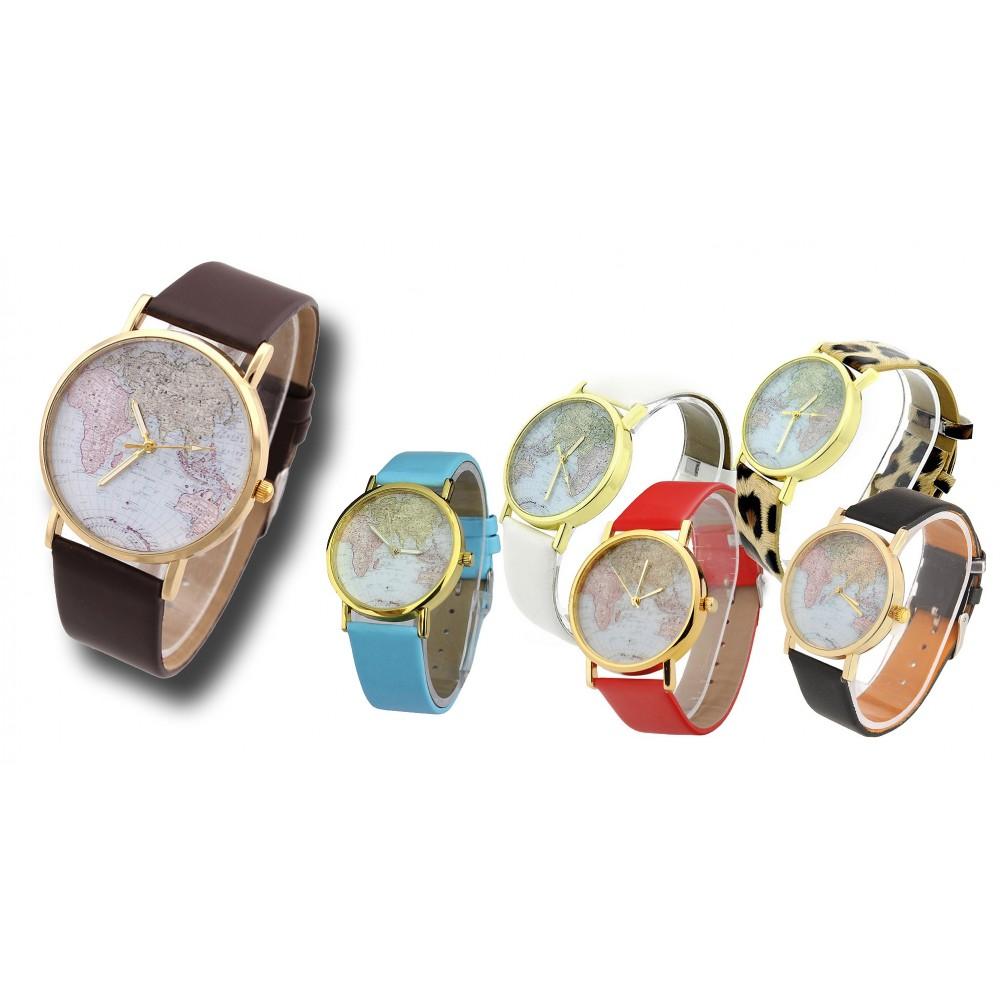 Orologio vintage analogico con mappamondo al quarzo watch retrò