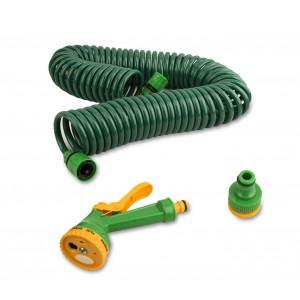 Tubo flessibile molla pistola 4 getti acqua 20 metri per rubinetti da 3/4 e 1/2