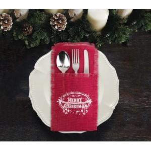 Porta posate natalizi 567193 MERRY CHRISTMAS in juta colore rosso