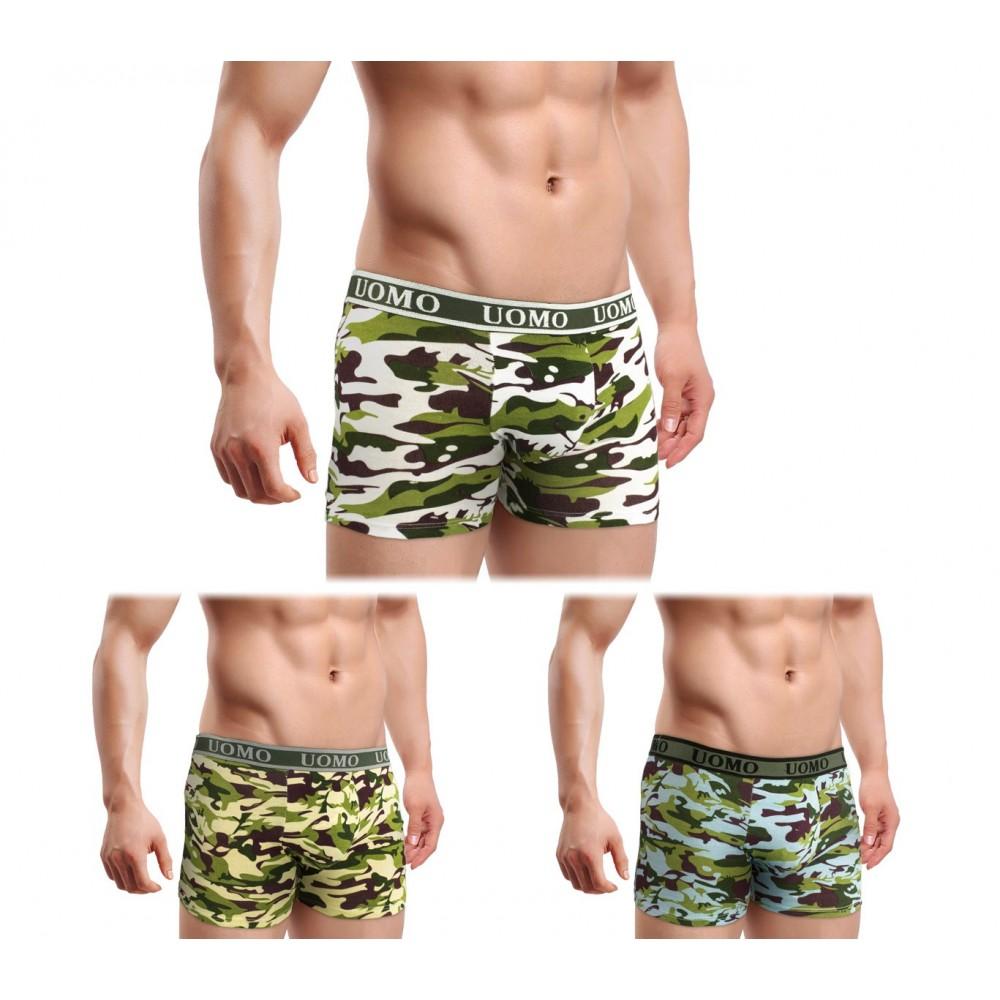 Pack da 4 boxer da uomo CAMOUFLAGE PT6809 taglie disponibili dalla M alla XXXL