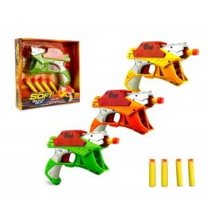Pistola giocattolo 287996 SOFT BULLET GUN con 4 dardi morbidi gioco d'azione