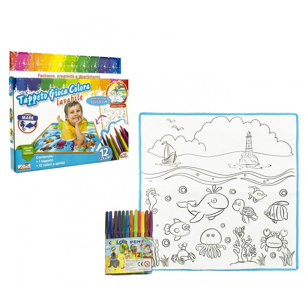 Tappeto gioca e colora 121767 OCEANO lavabile 50 x 50 cm 12 pennarelli inclusi