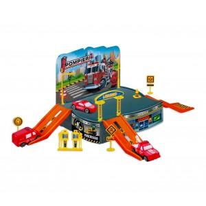 Playset PARCHEGGIO VIGILI DEL FUOCO 121838 CIGIOKI con elicottero e automezzi