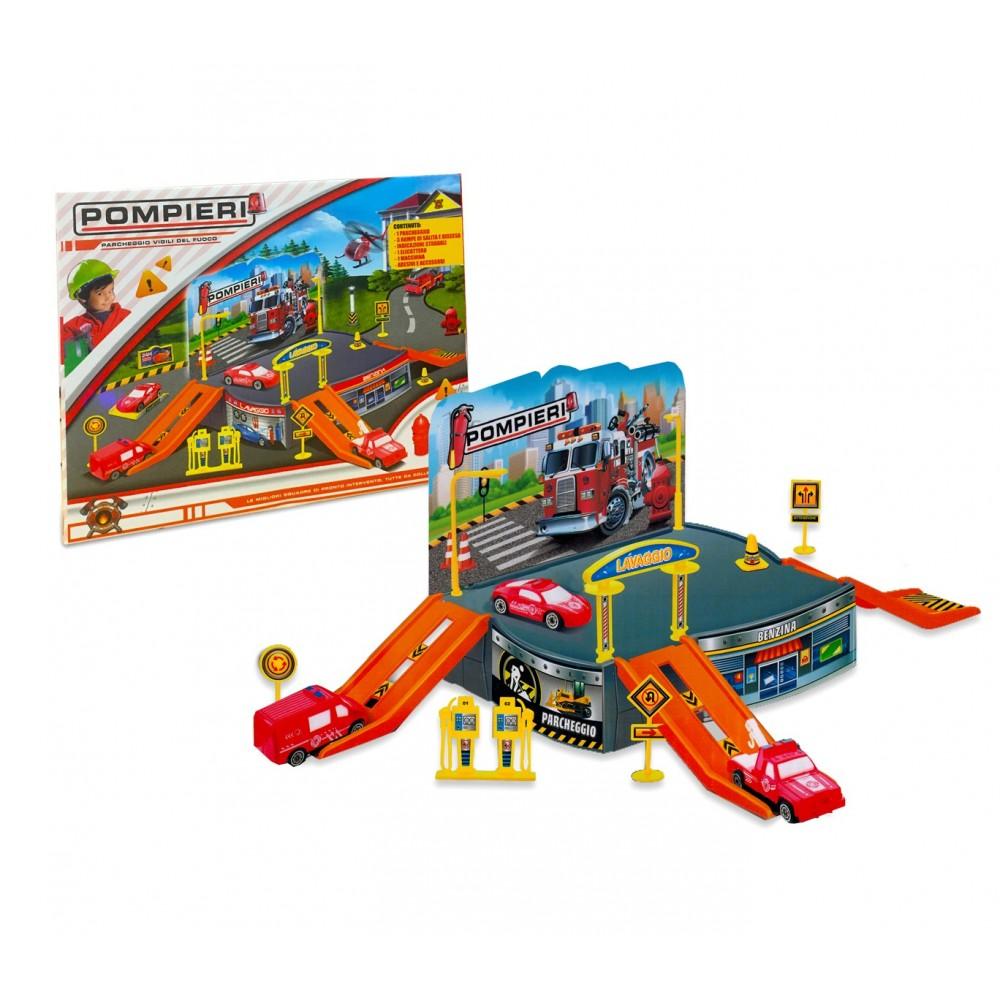Playset gioco PARCHEGGIO VIGILI DEL FUOCO 121838 con elicottero e automezzi