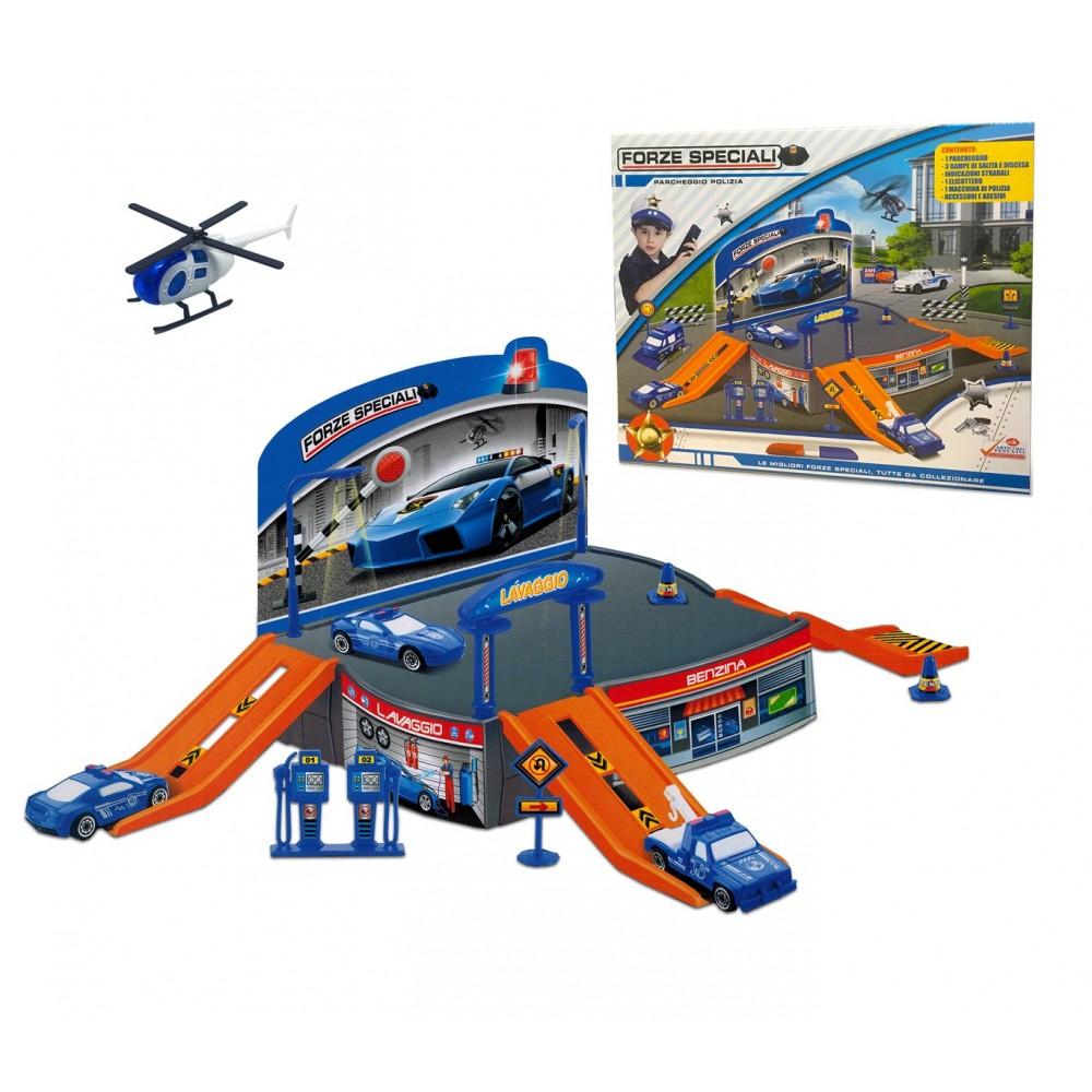 Playset gioco PARCHEGGIO FORZE SPECIALI 121836 con elicottero e automezzi