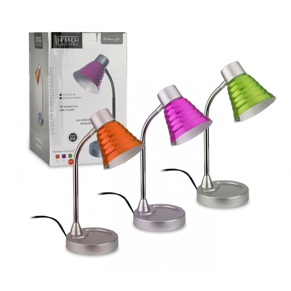 Lampada da tavolo colorata ELETTRO GT 618609 con braccio snodabile 36 cm E14