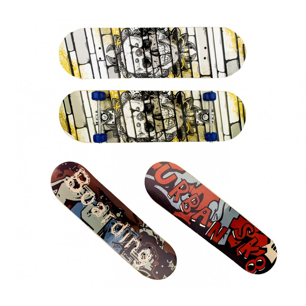Skateboard per ragazzi URBAN 4 ruote 122648 in legno 79 cm skateboarding