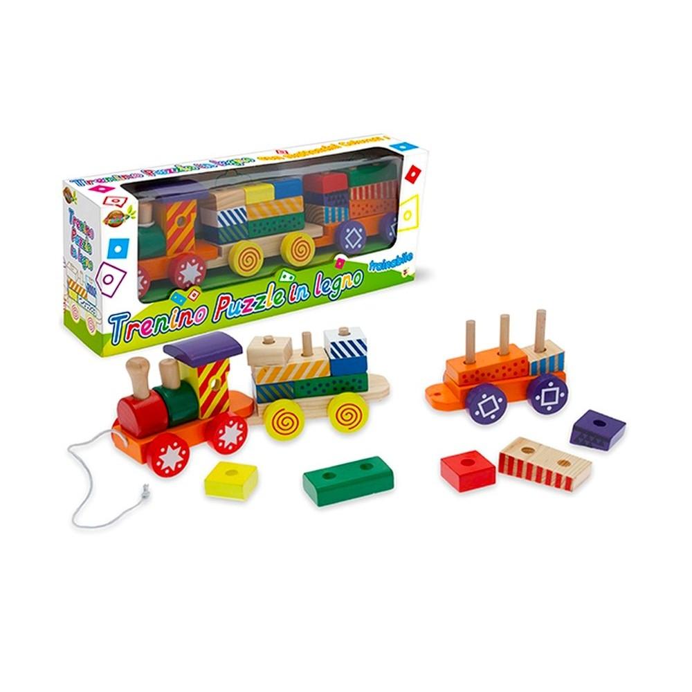 Trenino puzzle in legno da trainare 404248 con forme ad incastro da comporre