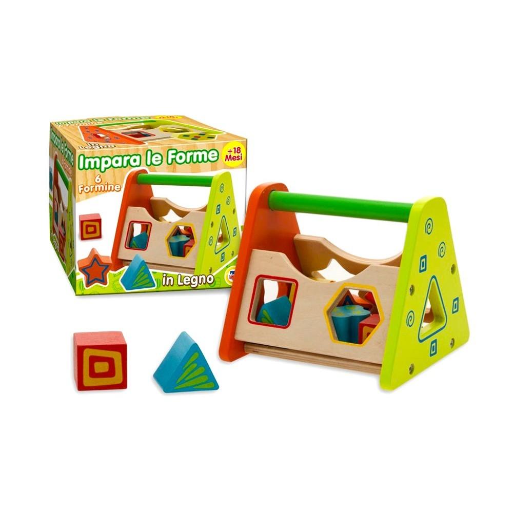Gioco educativo 405047 IMPARA LE FORME in legno colorato con 6 formine