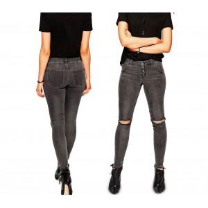Image of Jeans da donna a vita alta 81154 mod. RAGGED slim fit taglie dalla XS alla XL 8435524502938