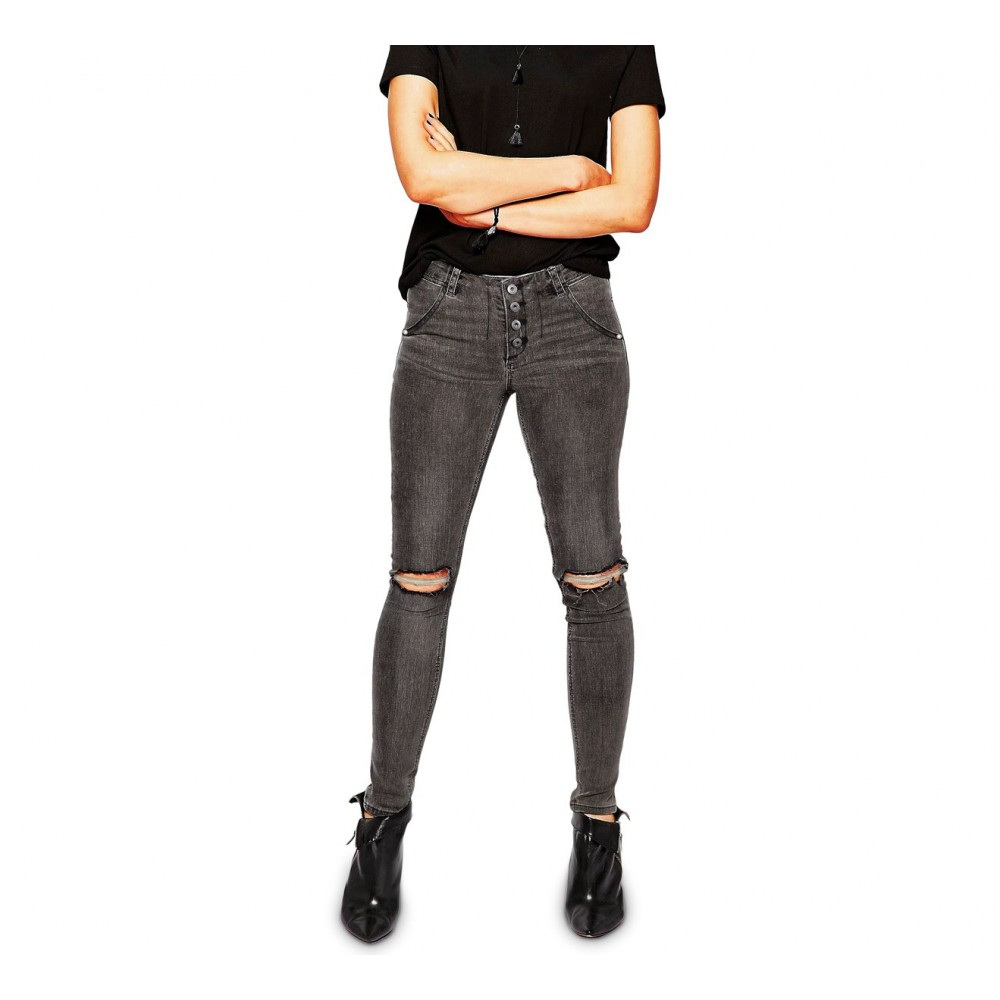 Jeans da donna a vita alta 81154 mod. RAGGED slim fit taglie dalla XS alla XL