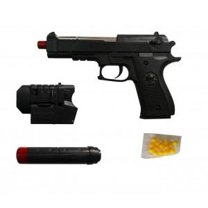 Pistola giocattolo 318843 con SILENZIATORE e laser 6 mm 129-5 pallini inclusi