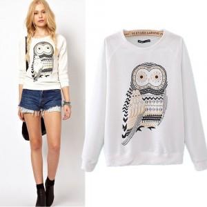 Image of Maglia donna girocollo stampa gufo owl vintage felpa manica lunga Sweatshirt 8015476856411