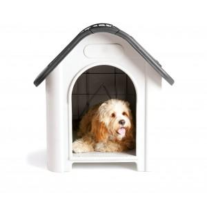 Cuccia casetta per cani media 4567 con oblò e prese d'aria 72 x 75,5 x 87 cm