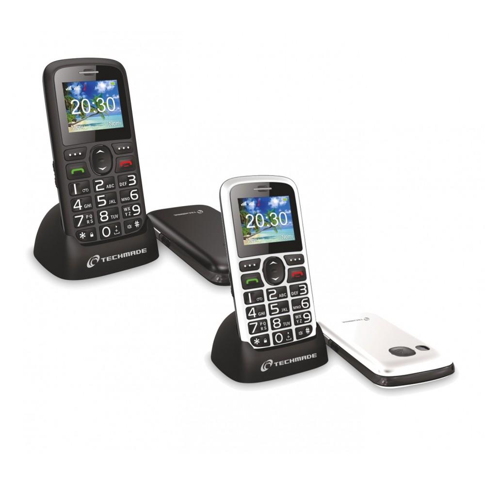 Cellulare per anziani TECHMADE TM-C08BK tasto sos e base di ricarica
