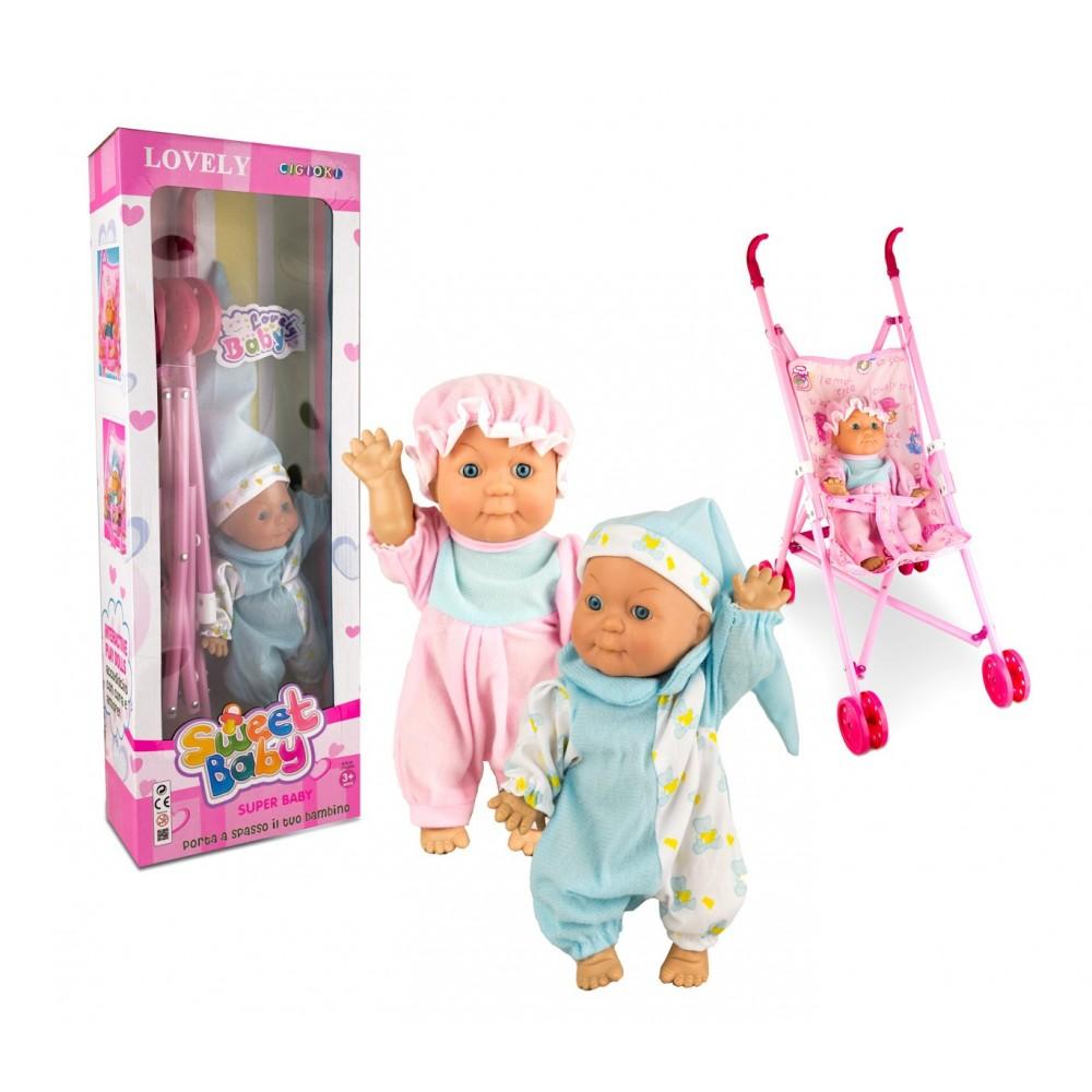 Passeggino giocattolo con bambola CIGIOKI 371404 SWEET SUPER BABY