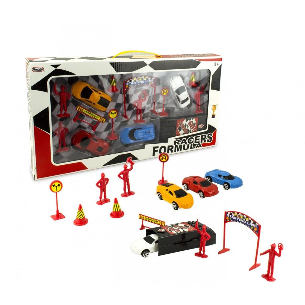 Playset macchinine o go-kart a spinta RACERS FORMULA 115270 con accessori
