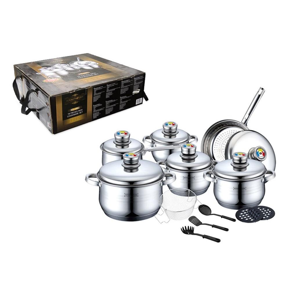 Set batteria di pentole RL-1802 ROYALTY LINE acciaio inox 18 pz con termostato