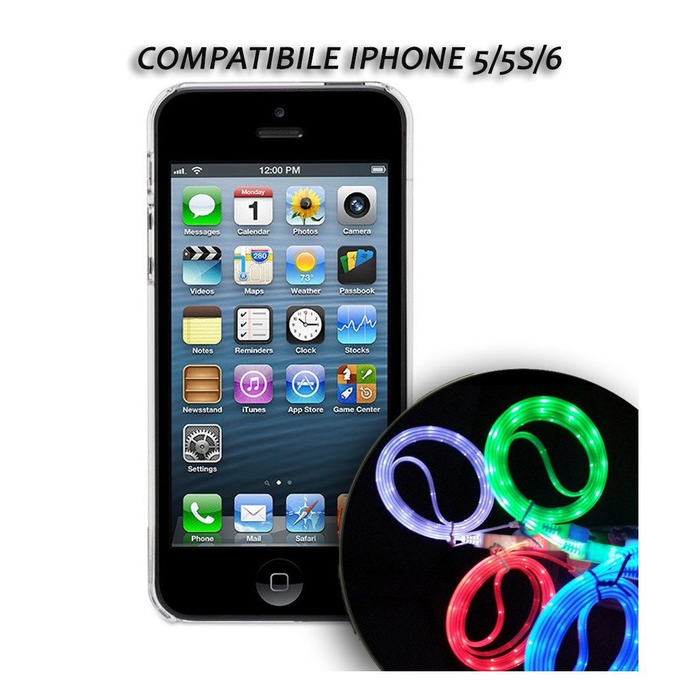 Cavo dati usb luminoso caricabatteria compatibile Iphone 5/5S/6