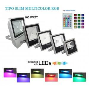 Faro a led RGB faretto SLIM multicolore con telecomando 10w 20w 30w 50w 100w