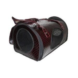 Image of Borsa trasportino vinaccia in ecopelle per cane e gatto oblò per respirazione 8435524505236