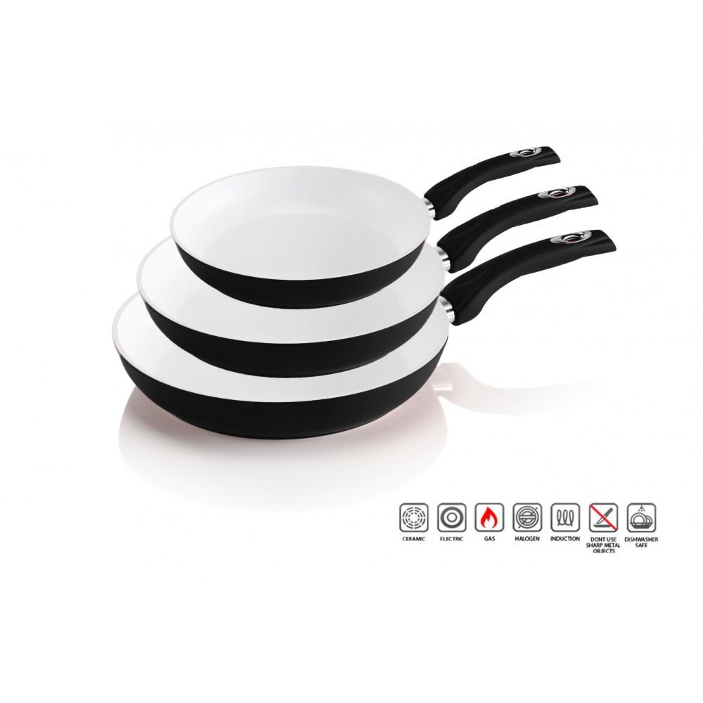 Tris di padelle rivestimento in ceramica antibatterica 20 - 24 - 28 cm cucina