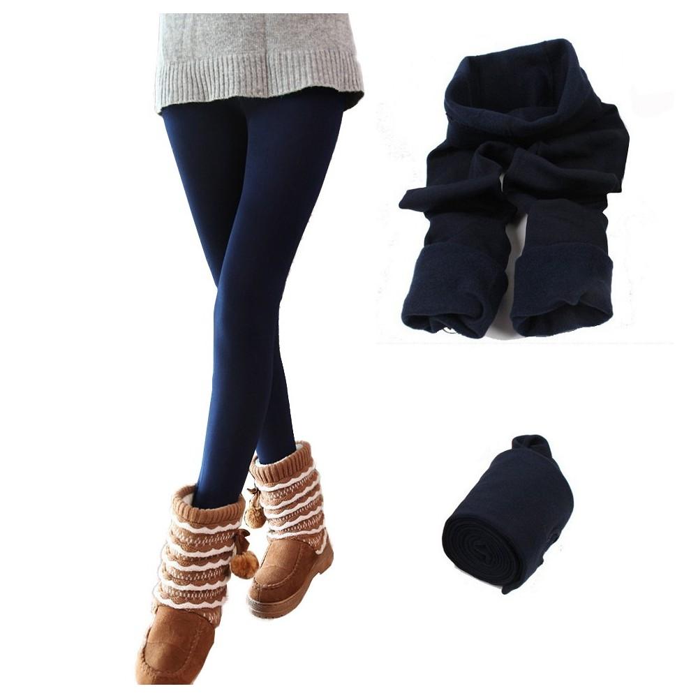 Leggings donna effetto termico interno felpato elasticizzato collant winter fuseaux