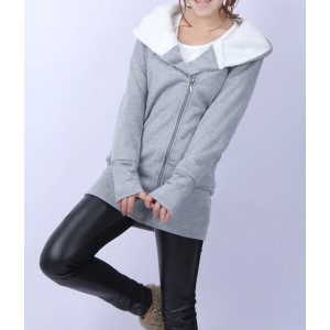 Image of Felpa lunga Hoody donna con cerniera laterale e cappuccio foderato moda casual 8027869124328
