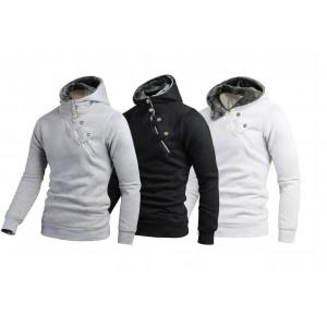 Felpa uomo casual modello Gotha con cappuccio cerniera laterale con bottoni gotici slim fit sweatshirt