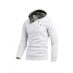 Image of Felpa uomo casual modello Gotha con cappuccio cerniera laterale con bottoni gotici slim fit sweatshirt 8012435461563