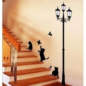 Image of Adesivo decorativo con gatti e lampione sticker murale da parete 70  X 50 cm 8012423457691