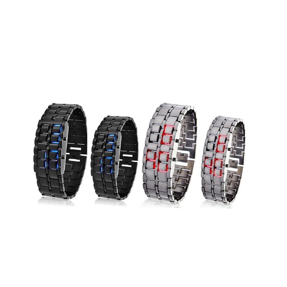 Orologio bracciale digitale led Iron Samurai metallo uomo donna bracelet watch