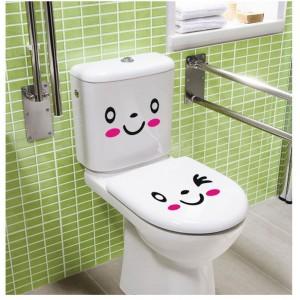 Image of Set 3 stickers con faccine adesivi arredare casa frigo wc armadi vetri 8034547687129