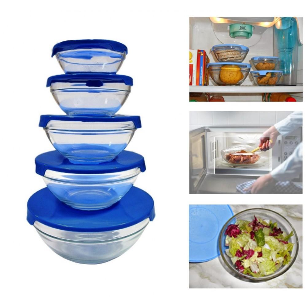 Set 5 contenitori in vetro impilabili ciotole cooking bowl per microonde BLU