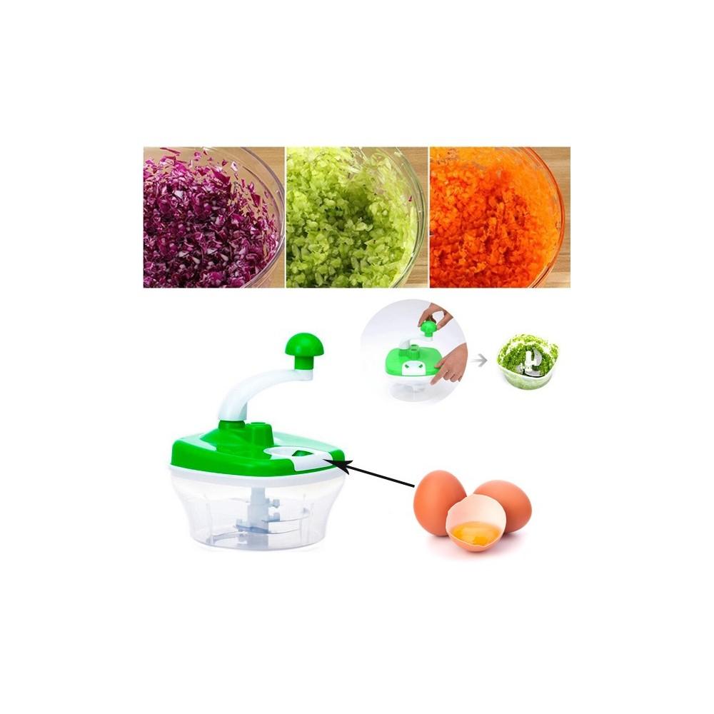 Taglia verdure trita alimenti manuale insalatiera con manovella e cestello con foro separa uova