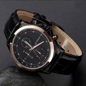 Image of Orologio analogico in cuoio mod. London da uomo con movimento finto cronografo 8032758569043
