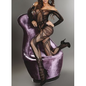 Image of Tuta in rete con maniche mod. 8812 catsuit con calza sexy elasticizzato 8012657687277