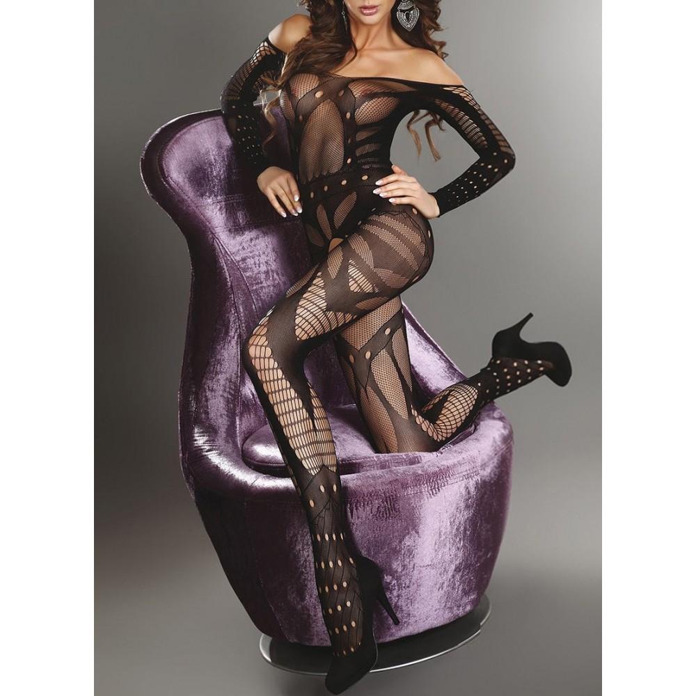 Tuta in rete con maniche mod. 8812 catsuit con calza sexy elasticizzato