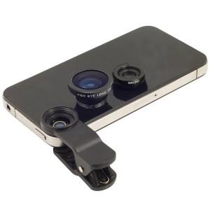 Set 2 lenti per obiettivo smartphone con 3 effetti e pinza universali FishEye Grandangolo Macro