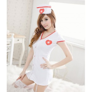 Vestito sexy lingerie intimo da infermiera o croce rossina con reggicalze e berretto