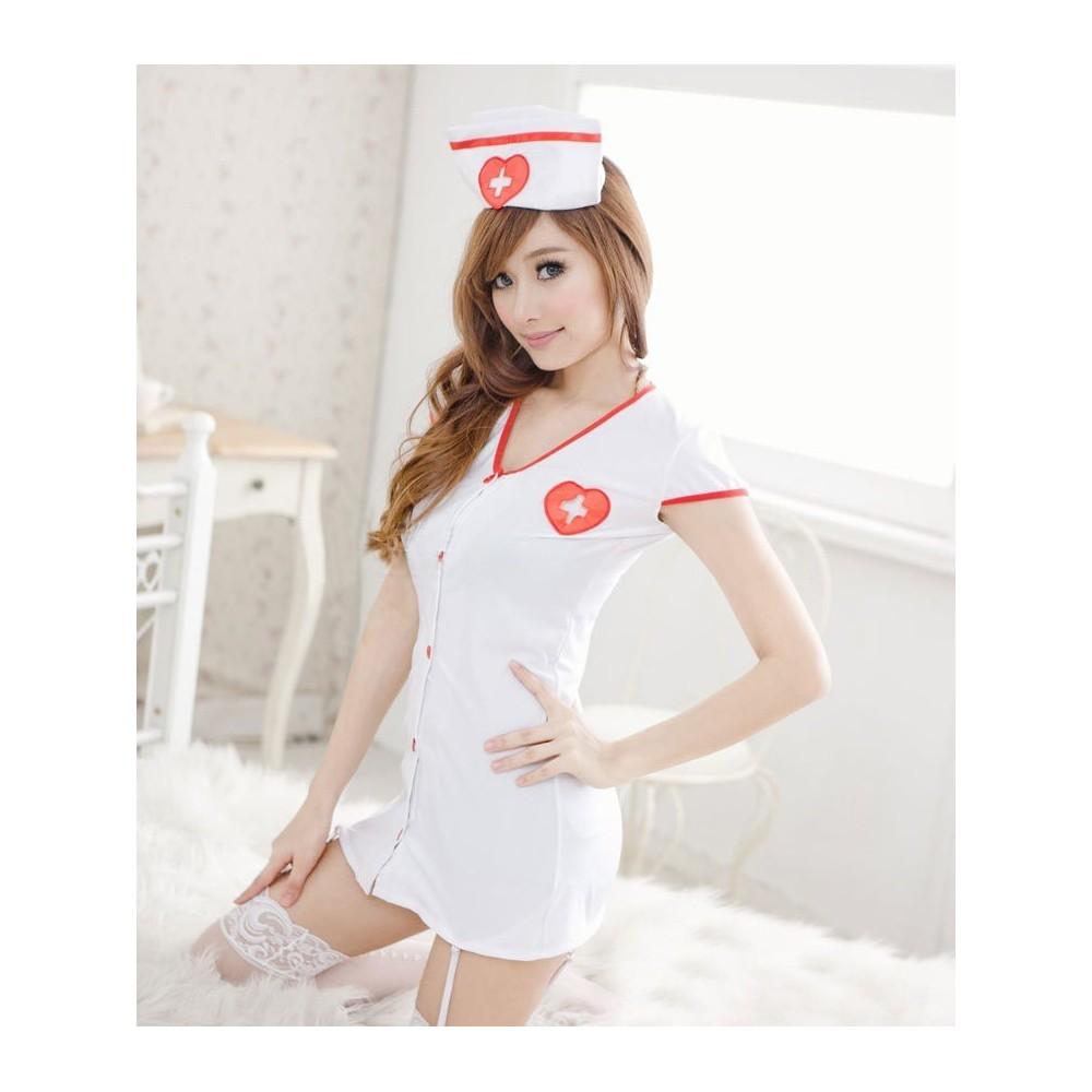 Vestito sexy lingerie intimo infermiera o croce rossina reggicalze e berretto