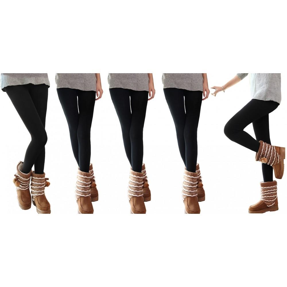 Pack da 3, 5 o 10  leggings NERI donna effetto termico interno felpato elasticizzato collant winter fuseaux
