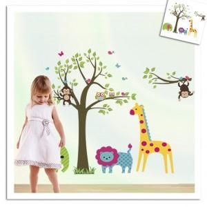 Adesivo decorativo con animali e giungla sticker murale da parete 90 X 60 cm