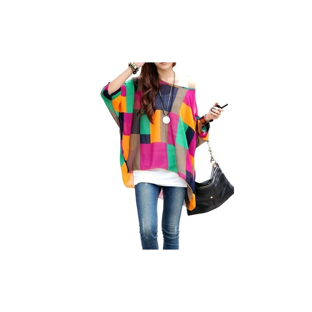 Blusa mod. Shapes in chiffon elegante maglia con stampa geometrica colorata
