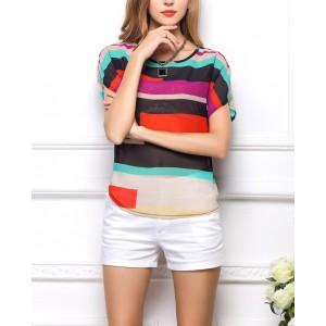 Camicetta di chiffon a righe multicolor maglia motivo geometrico trasparente