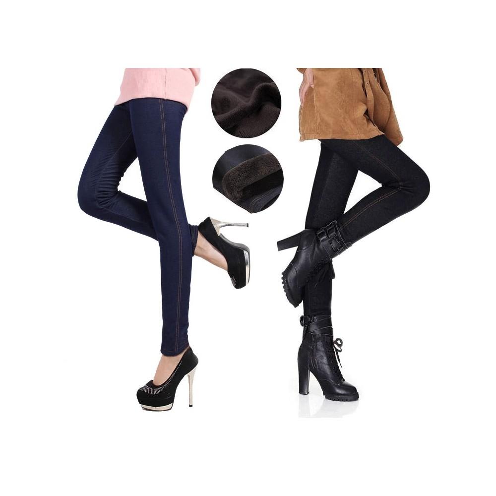 Leggings denim JEGGINGS felpati con pelliccia elasticizzato in jeans