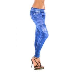Image of Leggings effetto denim jeggings donna con stampa jeans Basic o Candeggiato 8035475835095